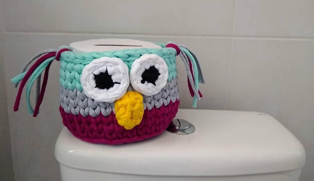 Faça você mesmo: porta papel higiênico de crochê