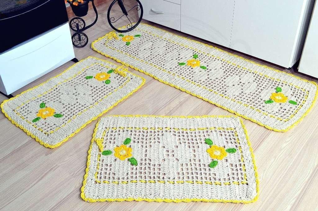 como fazer tapete de crochê